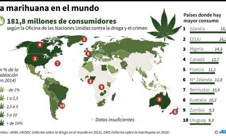 Este es el mapamundi de los principales países consumidores de Marihuana