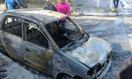 Así quedó el taxi 'zapatico' que fue devorado por las llamas en San Felipe