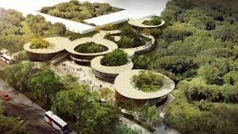En el render se aprecia una estructura moderna para la Megabiblioteca.