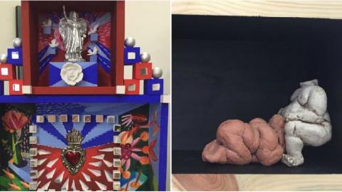 Esta es una de las cajas-altares de Carla Celia que hará parte de la exposición 'En-Caja-2', que conjuntamente hará con el antioqueño Joaquín Botero, una de cuyas esculturas corresponde a la otra foto. La muestra será inaugurada el 4 de octubre, a partir de las 7 de la noche, en la Aduana.