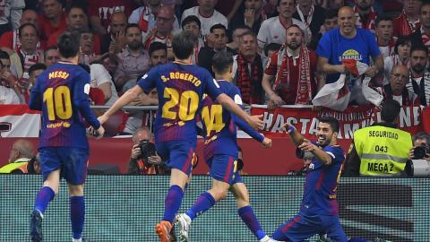 Celebración de uno de los goles de Luis Suárez.