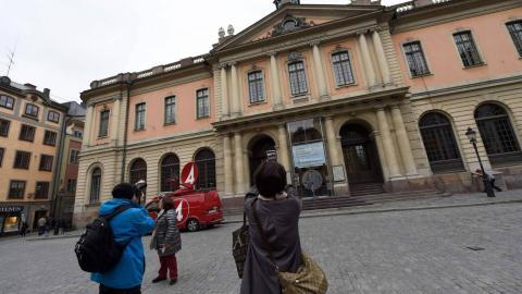Fachada de la sede de la Academia Sueca en Estocolmo.