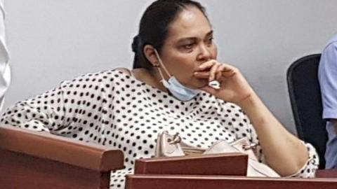 La ex juez penal del circuito de Lorica, Isabel Loreley Montes en la audiencia.