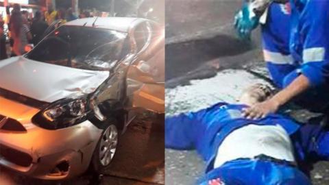 El carro que era conducido por el joven de 18 años. Al lado, Óscar Mercado Ojeda, fallecido.