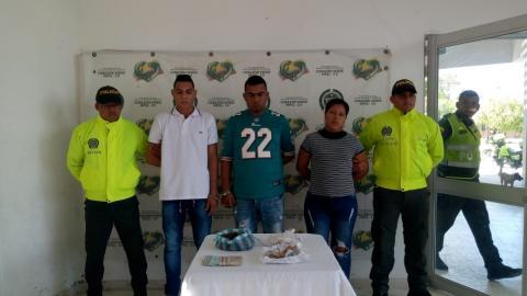 Los tres capturados con droga en Soledad.
