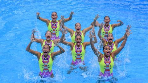 Las integrantes del equipo mexicano de natación artística que arrasaron con todas las medallas en este deporte de Barranquilla-2018.