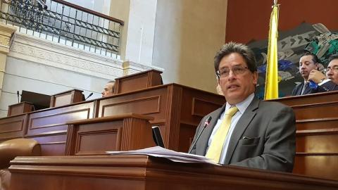 El ministro de Hacienda, Alberto Carrasquilla, durante una intervención en el Congreso.
