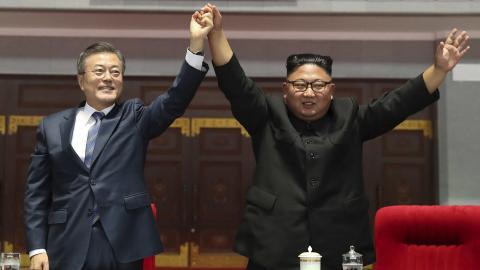 Kim Jong Un y Moon Jae-in, líderes de los dos países.