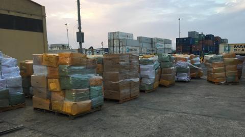 La mercancía aprehendida por la Dian en el Puerto de Barranquilla.