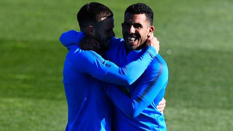 Tévez y Nandez en el entrenamiento de Boca.