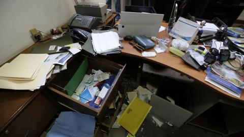 Vista de daños en la oficina del periodista nicaragüense Carlos Fernando Chamorro, en Managua.