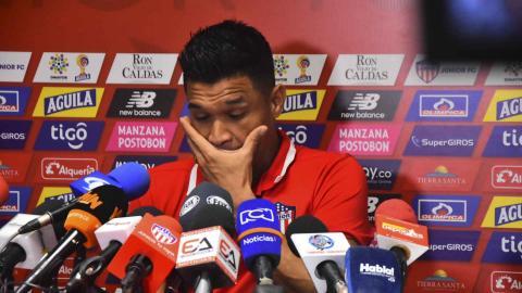 Teófilo durante la rueda de prensa de ayer en la sede deportiva Adelita de Char.