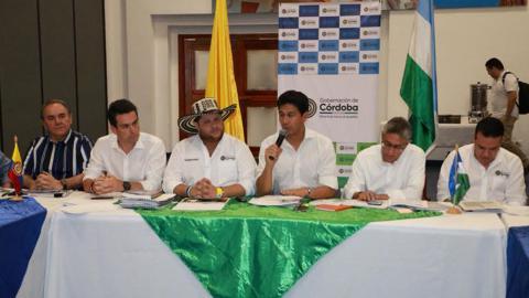 Aspecto de la rueda de prensa del Banco de Comercio Exterior de Colombia, Bancóldex.