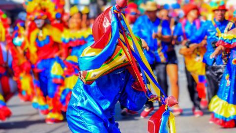 Máscara de torito característica en las danzas del congo.