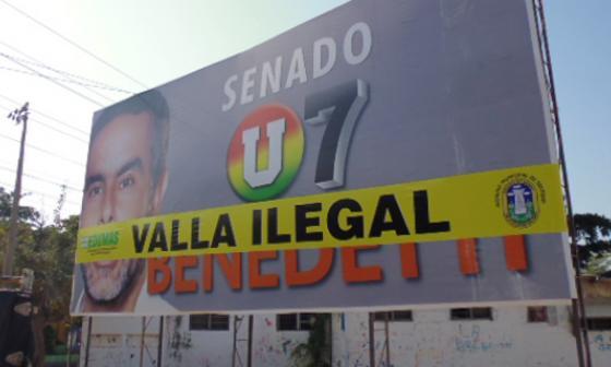 Edumas retira valla publicitaria de campaña de Benedetti