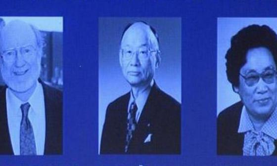 De izquierda a derecha: William Campbell, de Irlanda, Satoshi Omura, de Japón y Tu Youyou, de China.