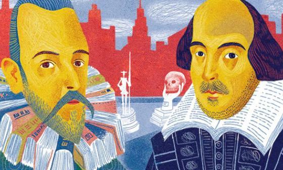 Ilustración realizada en honor a los literatos Miguel de Cervantes Saavedra y William Shakespeare.