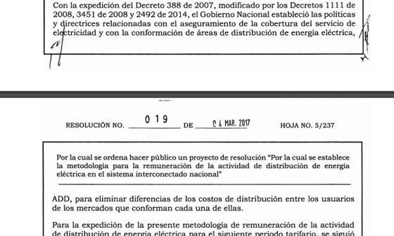 Proyecto de resolución publicado por la Creg.