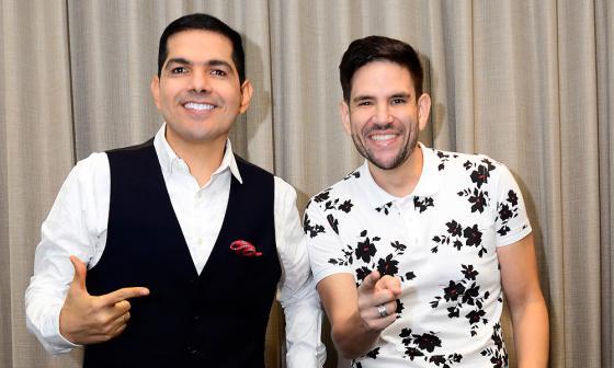 Peter Manjarrés y Juancho De la Espriella, en la presentación del disco organizada por Sony.