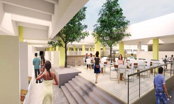 'Render' de lo que será una de las nuevas plazas de mercado ubicadas en el Centro de la ciudad.