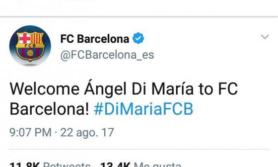 Este fue uno de los mensajes publicados en la cuenta del Barcelona en Twitter.