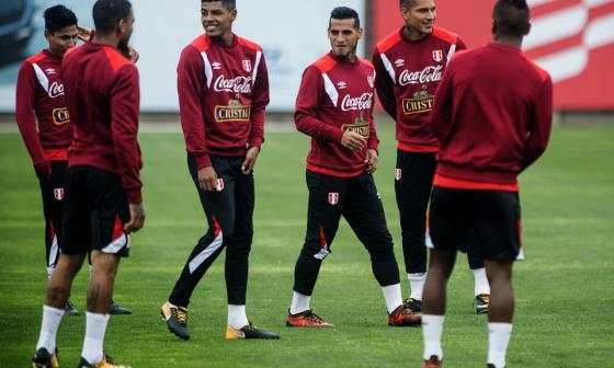 Jugadores de la Selección Perú durante un entrenamiento.