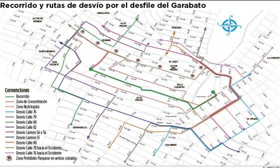 Así operarán los cierres viales por los dos desfiles del Garabato