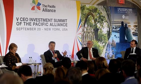 El presidente Juan Manuel Santos participó este miércoles del V Foro de Oportunidades de Inversión de la Alianza del Pacífico. Colprensa