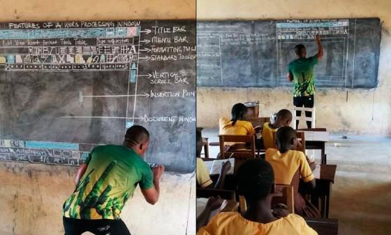 Un profesor en Ghana enseña informática...sin computador