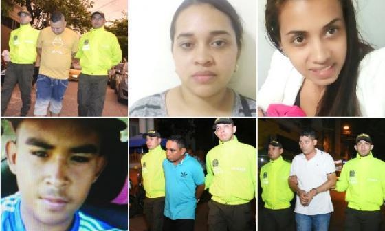 Los seis capturados señalados de partucipar en el homicidio del uniformado.