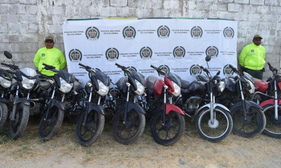 Algunas de las motos recuperadas por la Policía del Atlántico.