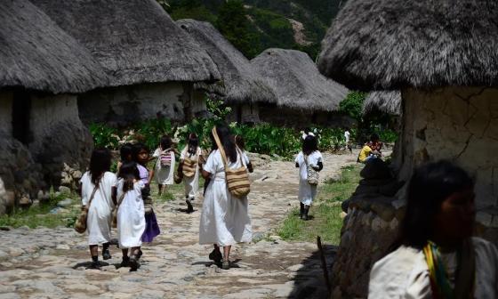 Vista de un asentamiento de los indígenas arhuacos en la Sierra Nevada de Santa Marta.