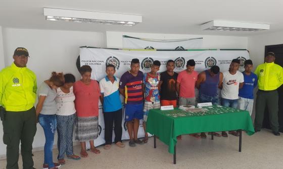 Los once capturados en Baranoa.