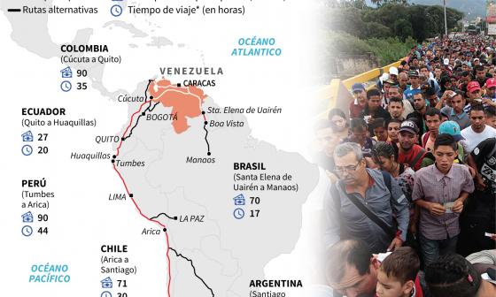 El creciente éxodo de venezolanos que toca la puerta de sus vecinos
