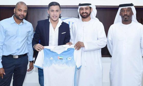 El volante palmarino Michael Ortega el día de su presentación como nuevo jugador del Baniyas SC.