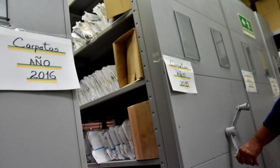 Vista de los archivos que se encuentran en el Centro de Servicios Judiciales de Barranquilla.