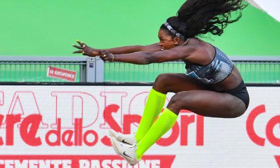 Caterine Ibargüen, segunda en salto largo en la Liga Diamante