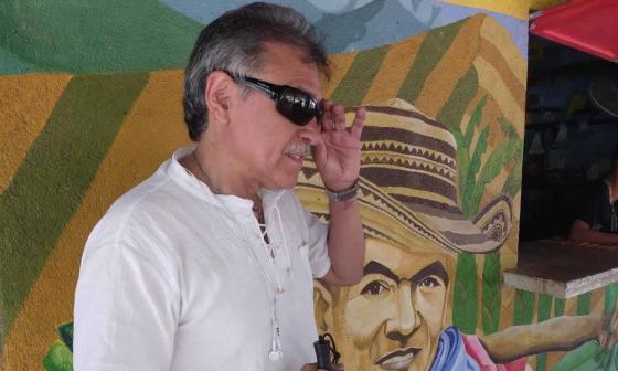 Jesús Santrich durante su paso por el ETCR de Pondores el 27 de junio