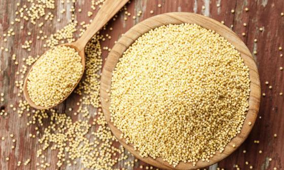 Muestra de millo en un recipiente que es utilizado para su transformación.