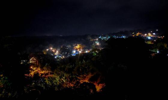 Imagen nocturna de Piojó, un municipio ubicado en la zona costera del departamento del Atlántico.