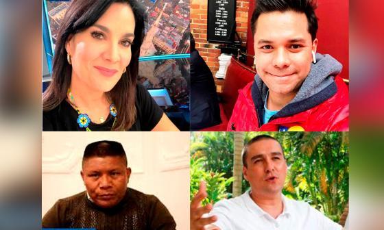 Los periodistas Vanessa de La Torre y Luis Carlos Velez, el caricaturista
