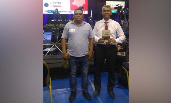 El expatrullero Dixon González (izquierda) junto a su abogado Daniel Santos durante la sesión de la Corte Interamericana de Derechos Humanos que sesionó en Barranquilla del 26 al 30 de agosto pasado.