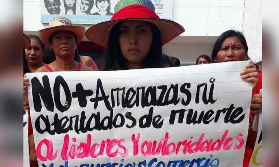 Organizaciones indígenas de La Guajira durante protesta.