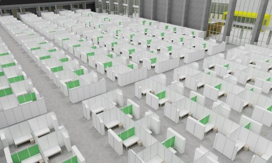 La imagen muestra lo que sería el hospital de campaña que habilitará el Distrito en el Puerta de Oro.