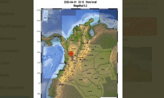 Un sismo de magnitud 5,2 sacude Colombia