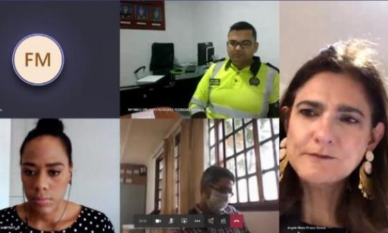 La ministra de Transporte, Ángela María Orozco, en la sesión virtual con el gobernador de Bolívar, Vicente Blel.