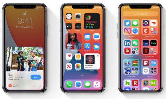 Aspecto iOS 14 en iPhone.