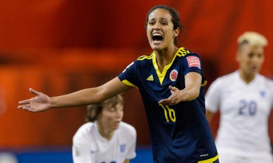 Lady Andrade en un partido con la selección Colombia.