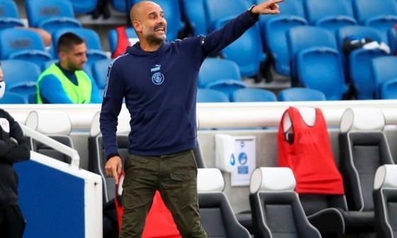 Pep Guardiola en un partido del Manchester City.