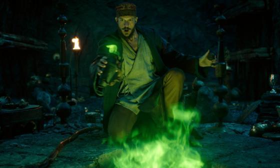 Gustaf Skarsgård como el mago Merlín en 'Cursed'.